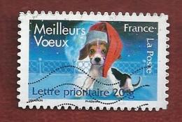 N° 4124 Meilleurs Vœux Chien Avec Bonnet Rouge (144) Oblitéré France 2007 - France