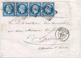LAC De Besançon Avec Bande De 4 Du N° 14 20 C Bleu Signée Calves TTB. - 1853-1860 Napoleon III