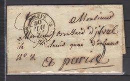 France - Lettre De Dieppe Pour Paris + Au Dos Cachet Dateur En Bleu 1833 - Cachet Type 12 - Postmark Collection (Covers)
