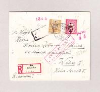 Türkei GALATA 24.3.1918 R-Brief 2Piastres 20 Paras Brief Nach Wien Rückseite K.u.K. Zensurstelle Wien Kleber - 1858-1921 Empire Ottoman