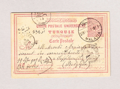 Türkei Ganzsache 20 Paras Von Malatia Nach Belgien Mit AK-Stempel 6.6.1901 Saffelaere - 1858-1921 Empire Ottoman
