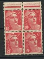 FRANCE -  M. DE GANDON - N° Yvert  721A** BLOC DE 4 HAUT DE F. PETIT FORMAT TENANT À NORMAL - 1945-54 Marianne (Gandon)