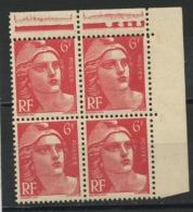 FRANCE -  M. DE GANDON - N° Yvert  721A** BLOC DE 4 COIN DE F. PETIT FORMAT TENANT À NORMAL - 1945-54 Marianne (Gandon)