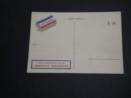FRANCE - Carte En Franchise Militaire Avec Publicité Cigarettes Nationales - A Voir - L 2917 - Cartes De Franchise Militaire