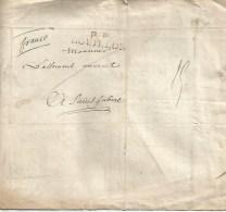 Lettre Complète De BOUILLON Vers Saint-Hubert.  En Franco.  P.P.BOUILLON  Noir Du  10 Mars 1829 . - 1815-1830 (Dutch Period)