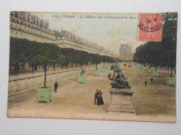 CPA 75 PARIS -   Le Jardin Des Tuileries Et La Rue De Rivoli  1906 - Parques, Jardines