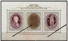 Austria/Autriche: Specimen, Miniature Sheet, Wolfang Amadeus Mozart - Música