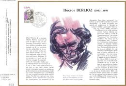 Sur Feuillet CEF , FDC 1983 La Côte Saint André .  Hector Berlioz. - FDC