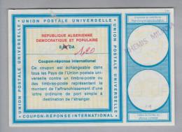 Algerien Ganzsachen Coupon Réponse International 1.20 DA Statt 0.80 DA - Algérie (1962-...)