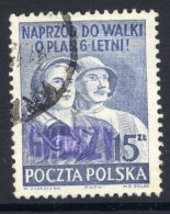 POLAND 1950 Currency Reform Handstamp On Six Year Plan, Used.  Michel 665 - 1944-.... Republic