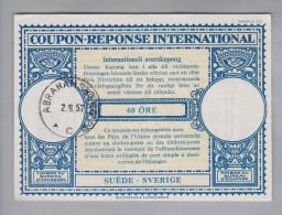 Schweden Ganzsachen Coupon Réponse International 1957-09-02 Abrahamsweg 60 Öre - Entiers Postaux