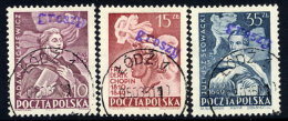 POLAND 1950 Currency Reform Handstamp On Famous Poles Used.  Michel 639-41 - 1944-.... Republic
