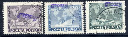 POLAND 1950 Currency Reform Handstamp On UPU Set Used.  Michel 636-38 - Used Stamps
