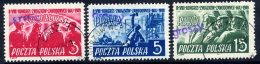 POLAND 1950 Currency Reform Handstamp On Trades Union Congress Set Used.  Michel 630.32 - Used Stamps
