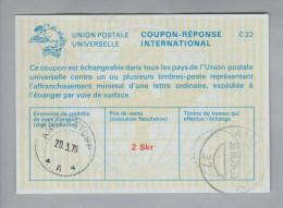 Schweden Ganzsachen Coupon Réponse International 1979-03-20 Ammerstorp 2 Skr - Entiers Postaux