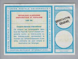 Algerien Ganzsache Coupon Réponse International Constantini Coudiat 0.80 DA - Algérie (1962-...)