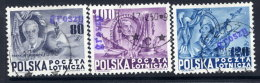 POLAND 1950 Currency Reform Handstamp On USA Constitution Set Used.  Michel 617-19 - 1944-.... Republic