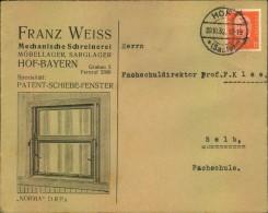 1932,HOF-BAYER, Toller Firmen-Werbebrief, Reklame, Franz Weiss, Mechan. Schreinerei, Möbellager, Sarglager, Schiebe-Fens - Germany