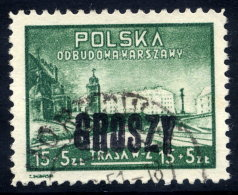 POLAND 1950 Currency Reform Handstamp On Warsaw Reconstruction, Used.  Michel 605 - Used Stamps