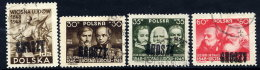 POLAND 1950 Currency Reform Handstamp On Revolution Centenaries Set, Used.  Michel 600-03 - 1944-.... Republic