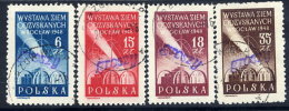 POLAND 1950 Currency Reform Handstamp On Wroclaw Exhibition Set, Used.  Michel 596-99 - 1944-.... Republic
