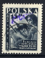 POLAND 1950 Currency Reform Handstamp On Warsaw Ghetto Rising, Used.  Michel 591 - Used Stamps