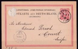 Postkarte Metz  Moselle 1879 Cachet Allemand Pour Couvet Suisse - Metz