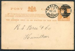 1893 Australia Victoria Stationery Postcard Geelong Duplex - Hamilton - 1850-1912 Victoria