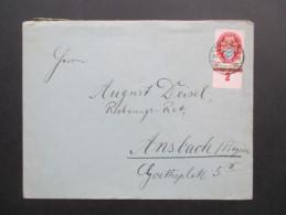 DR 1925 Nr. 376 Unterrand Einfachfrankatur . Deutsche Nothilfe. Grötzingen - Ansbach In Bayern - Briefe U. Dokumente