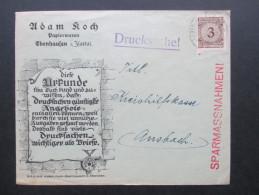 DR 1920er Jahr Nr. 338 Einfachfrankatur . Korbdeckel. Frmenbrief. Adam Koch Papierwaren Ebenhausen. Die Urkunde... - Briefe U. Dokumente
