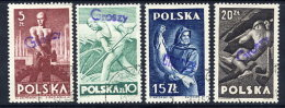 POLAND 1950 Currency Reform Handstamp On Occupations Set, Used.  Michel 580-83 - 1944-.... Republic
