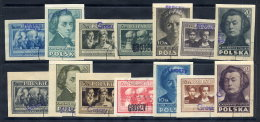 POLAND 1950 Currency Reform Handstamp On Polish Culture Imperforate Set, Used.  Michel 566B-79B - 1944-.... Republic