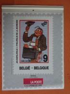 CALENDRIER 1995 LA POSTE BELGIQUE BELGIE NERON MARC SLEEN ILLUSTRATION TIMBRES POSTE BD TINTIN - Big : 1991-00
