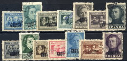 POLAND 1950 Currency Reform Handstamp On Polish Culture Perforated Set, Used.  Michel 566A-79A - 1944-.... Republic