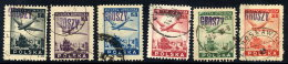 POLAND 1950 Currency Reform Handstamp On Aircraft Over Warsaw Airmail Set, Used.  Michel A564-B565 - 1944-.... Republic