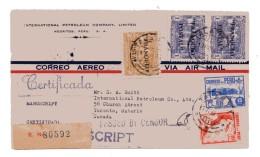 PERU 1942  WW2 NICE CENSORED AIRMAIL COVER TO CANADA REGISTERED NICE FRANKINGRECEPTION CaD's BACK - Peru