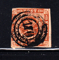Denmark Used Scott #4 4s Royal Emblems  Cancel: 3-ring '1?0' - Used Stamps