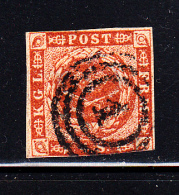Denmark Used Scott #4 4s Royal Emblems  Cancel: 3-ring '1' - Used Stamps