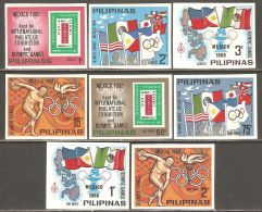 Philippines 1968 Mi# XVI-XXIII B ** MNH - Imperf. - Not Issued - Summer Olympics 1968, Mexico / EFIMEX '68 - Sommer 1968: Mexico