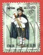 ITALIA REPUBBLICA USATO - 2014 - EUROPA - Zampogna - € 0,70 - S. 3475 - 2011-...: Afgestempeld