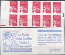 France 2001 Yvert Carnet 3419 - C2 Neuf ** Cote (2012) 12.00 Euro Marianne De Luquet La Poste Vous Facilite L'Euro - Usados Corriente
