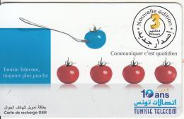 TUNISIA - Tomatoes, Tunisie Telecom Recharge Card 3 Dinars, Used