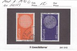Andorra Franz. 1970 - Nr. 222/23 - Europa CEPT - Gestempelt Cancelled