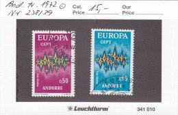 Andorra Franz. 1972 - Nr. 238/39 - Europa CEPT - Gestempelt Cancelled