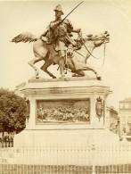 Italie Turin Torino Place Solferino Statue Duc De Genes Balzico Ancienne Photo 1890 - Photographs