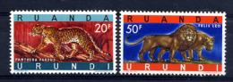 RUANDA URUNDI 1959,  PANTHERE Et LION, Les 2 Plus Grosses Faciales, Neufs** / Mint. Refbtejaune - 1948-61: Ongebruikt