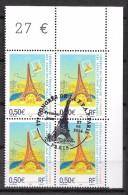 FRANCE 3685 En Bloc De Quatre Olblitéré Premier Jour FDC Tour Eiffel Paris - Frankreich