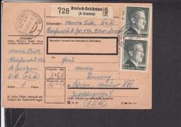 Deutsches Reich Paketkarte Deutsch - Reichenau ( B.Gratzen ) 1944 - Germany