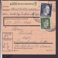 Deutsches Reich Paketkarte  Stempel Berlin - Lichtenberg - Deutschland