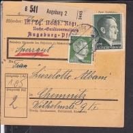 Deutsches Reich Paketkarte  Stempel  Augsburg 1942 - Alemania